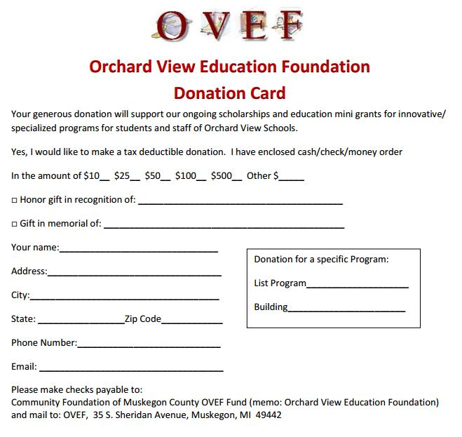 OVEF Donation Card